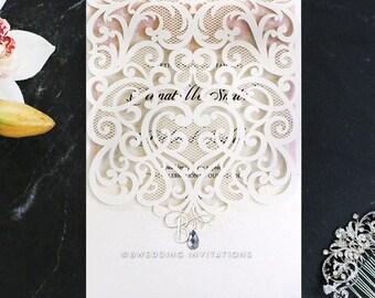 Charming Baroque Pocket Wedding Invitation, Pink - WB15001-PK