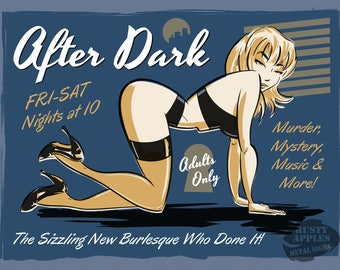 After Dark Live Show Burlesque Risque Saucy Pin-Up Retro Home Decor Metal Sign