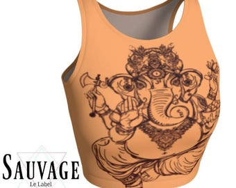 Ganesha in Peekaboo Peach • Athletic crop top OR Tank Top • Festivals, yoga classes and sunday brunch approved • handmade in Montreal