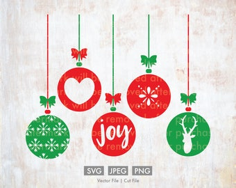 Christmas Ornaments svg - Cut File/Vector, Silhouette, Cricut, SVG, PNG, Clip Art, Download, Holidays, Snowflakes, Joy, Reindeer, Tree, Bows
