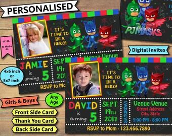 PJ Masks Invitation, PJ Masks Birthday Invite, pj Masks Birthday Invitation, pj Masks Party Invite,  pj Masks Party Printable, PJ Masks