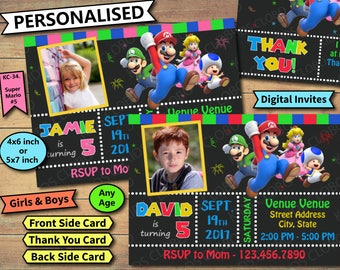 Super Mario Invitation, Super Mario Birthday Invite, Super Mario Birthday Invitation, Super Mario Birthday Party Invite, Super Mario Invite