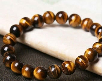 Tiger Eye natural  gemstone elastic chakra bracelet