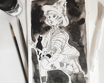 Inktober Witch with Cat