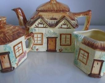 Vintage Novelty Cottage ware Teapot Creamer Sugar Bowl By Keele Pottery 1930