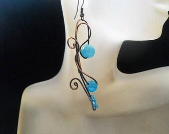 Statement Copper earrings Copper Blue earrings Rustic earrings Copper Boho earrings Copper wire earrings Wire wrap earrings Art earrings
