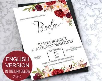 SPANISH-Flowers Watercolor Burgundy Invitaciones de Boda Template-Peonies Invite-DIY Printable Invitations-PDF-Download Instantly| VRD137BDK