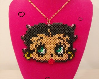 Betty Boop Necklace, Fuse beads, betty hama beads necklace iron beads 8 bit style, mini hama beads, pixle art, kawaii cartoon necklace