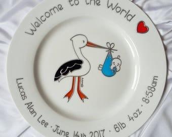 Baby Plate for Boy - Stork Baby Keepsake - Christening Gift for Baby -Handmade Baby Gift - Blue Stork Design Christening Plate for Baby