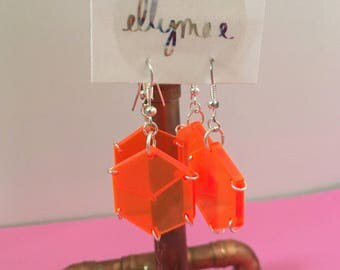 Neon Orange Acrylic Earrings