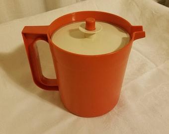 Vintage Tupperware Orange 1.5 Quart Push Button Pitcher 1575-3