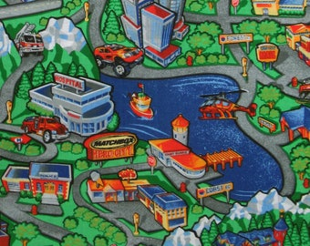 RARE Cotton Quilt Fabric 2005 MATCHBOX Hero City By The Half Yard