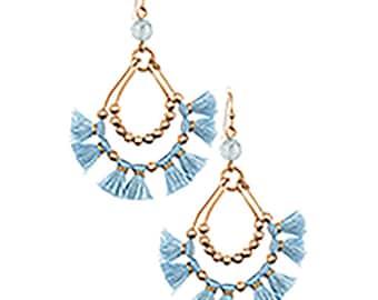 Silk Teardrop Baby Blue Tassel Earrings