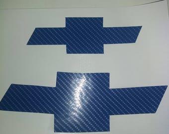 Chevy  Cruze Bowtie  Blue Carbon Fiber 4D  Decals - High Quality Bowtie Stickers Chevrolet Cruze
