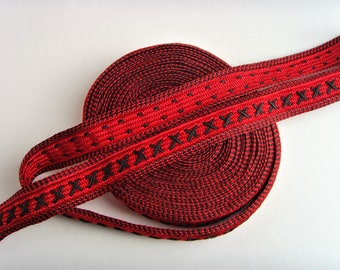 Lace Ribbon, red black Couture jewelry Creations.