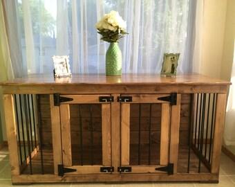 Dream (#1 on Etsy) Double Kennel/ Dog Kennel/Custom Kennel/Handmade Kennel/Dog Bed/Dog Crate Furniture/Pet Furniture/Handcrafted Wood