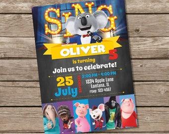 Sing Movie Invitation, Sing Invitation, Sing Movie Party, Sing Invite, Sing Party Invitation