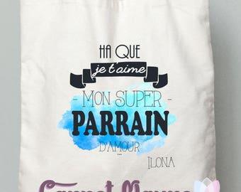 """GODFATHER gift - godmother - tote bag """"Godfather super"""" gift blue quarelle"""