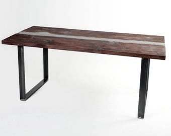 BLACK RESIN TABLE  - Resin and Wood Desk - Resin and Wood Table