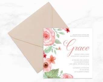 "Floral 5""x5"" Baptism Invitation by Arbor Grace Collections, 5"" x 5"" PRINTABLE Invitation"