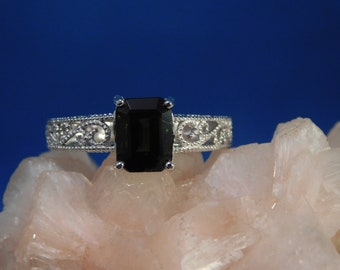 1.64 ct. Emerald Cut Green Tourmaline Ring 1920's Style Sterling Silver Filigree