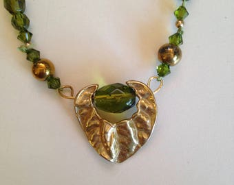 Green Crystal and Brass Necklace