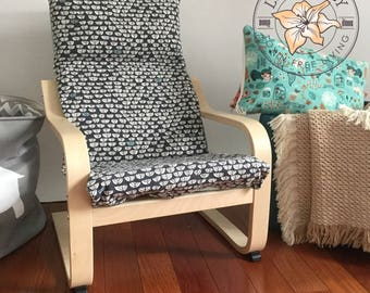 Children's Ikea Poang Chair Cushion/Natural Latex Cushion/Organic Cover/Organic Canvas/Reversible/Blue
