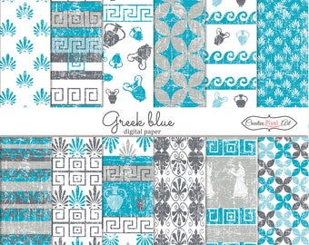 Greek Blue Texture , Digital Paper , Distress Paper Download, Scrapbooking paper , For personal and small business use
