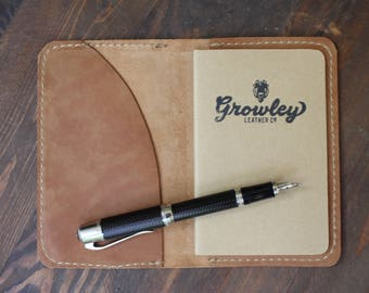 The Scribbler Personalized Leather Handheld Journal Cover Field Notes or Moleskine - Christmas Gift for Her, Gift for Best Friend