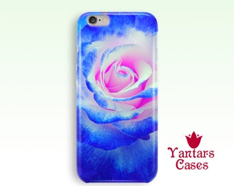 Blue iPhone case Rose iPhone 6s case Floral phone case blue Custom cases iPhone 5 case 7, 4, SE iphone For women pretty Anniversary gift