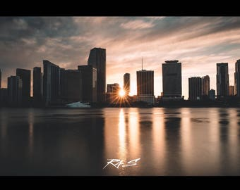 Florida Photography Prints / Miami, Florida Sunset Cityscape / Florida Print / Florida Photography / Prints Wall Art