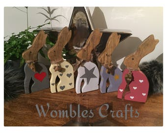 Wooden Hare Rabbit with heart design & 3d hanging heart round neck