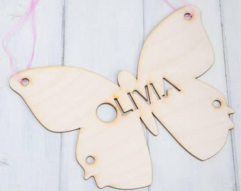 Personalised Wood Cut Out Butterfly Hanging Sign