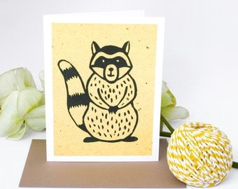 6 Blank cards - Note Card Set - Note Cards - Handmade Cards - Stationery - Linocut - Set of cards - Novelty Cards - Woodland - Raccoon Cards
