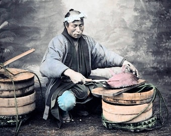 "1870's Japanese Man Preparing a Fish Vintage Photograph 8.5"" x 11"" Reprint"