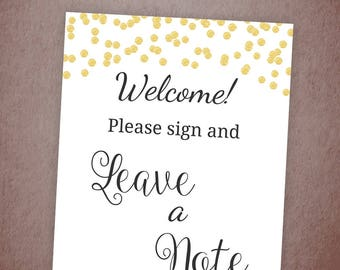Please Sign and Leave a Note, Gold Glitter Confetti Printable Table Sign, Sign Guestbook, Wedding Sign, Favor Table Sign, Bridal Shower A001
