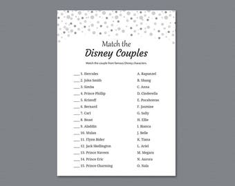 Disney Couples Match, Bridal Shower Games Printable, Black Confetti Dots, Famous Disney Couples, Wedding Shower, Instant Download, A020