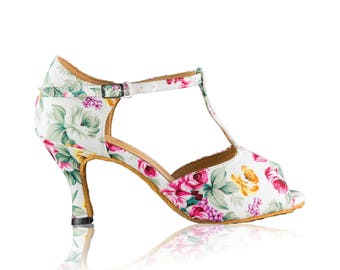 White/Floral -  latin / bridal / social dance shoes