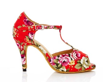 "3.5"" red floral latin, salsa, bridal dance shoes"