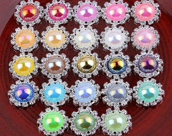 20MM Bling Round Decorative Flatback Crystal Pearl Buttons Rhinestone Buttons Crystal Silver Buttons