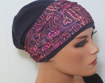Cool BEANIE/Hat + headband to combine Eggplant mottled fashionable practically easy turban chemo chemical Hat