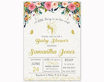 Fairy Baby Shower Invitation, Watercolor Baby Shower Invitation, Floral Baby Shower, Printable Invitation