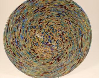Multicolored Hand Blown Glass Plate