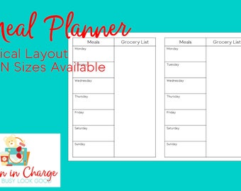 Personal Meal Planner Traveler's Notebook Insert