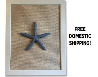 Framed Starfish Art, Blue Starfish Decor, Coastal Decor, Beach Decor, Beach House Decor, Beach Art, Coastal Art, Nautical Decor