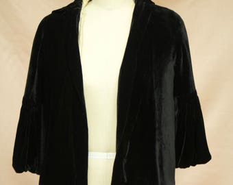 Vintage Black Velvet Outerwear/Cardigan with Flared Quarter Length Sleeves