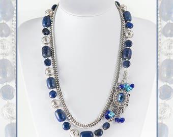 The necklace of blue lapis lazuli