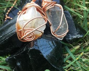 Citrine x Clear Quartz Copper necklace