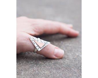 Silver & Copper Triangle Ring