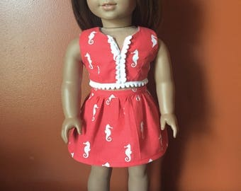 Seahorse Crop Top, Skirt, and White Fringe Sandals made to fit 18 inch dolls such as American Girl Dolls